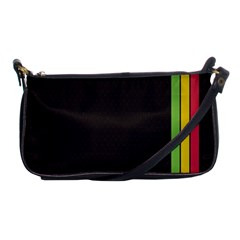 Brown White Stripes Green Yellow Pink Shoulder Clutch Bags by AnjaniArt