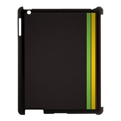 Brown White Stripes Green Yellow Pink Apple Ipad 3/4 Case (black)