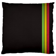 Brown White Stripes Green Yellow Pink Standard Flano Cushion Case (two Sides) by AnjaniArt