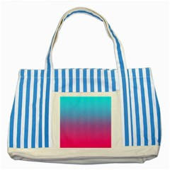 Blue Pink Purple Striped Blue Tote Bag