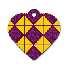 Complexion Purple Yellow Dog Tag Heart (one Side) by AnjaniArt