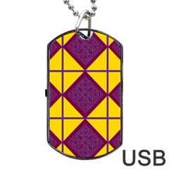 Complexion Purple Yellow Dog Tag Usb Flash (two Sides)  by AnjaniArt