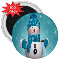 Cute Snowman 3  Magnets (100 Pack)