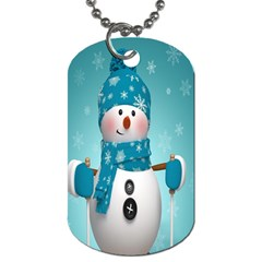 Cute Snowman Dog Tag (two Sides) by AnjaniArt