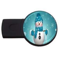 Cute Snowman Usb Flash Drive Round (2 Gb)  by AnjaniArt