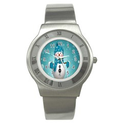 Cute Snowman Stainless Steel Watch