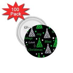 New Year Pattern   Green 1 75  Buttons (100 Pack)  by Valentinaart