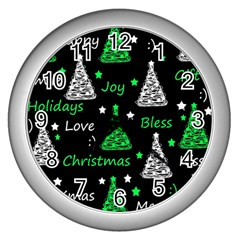 New Year Pattern   Green Wall Clocks (silver)  by Valentinaart