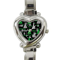 New Year Pattern   Green Heart Italian Charm Watch by Valentinaart