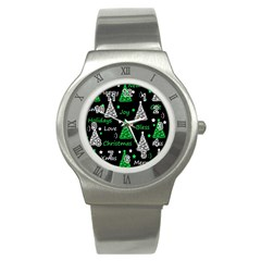New Year Pattern   Green Stainless Steel Watch by Valentinaart