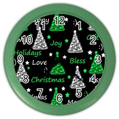 New Year Pattern   Green Color Wall Clocks by Valentinaart