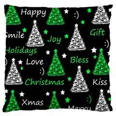 New Year Pattern   Green Large Cushion Case (one Side) by Valentinaart