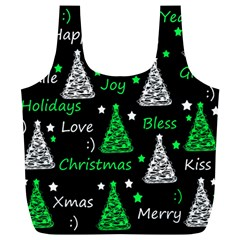 New Year Pattern   Green Full Print Recycle Bags (l)  by Valentinaart