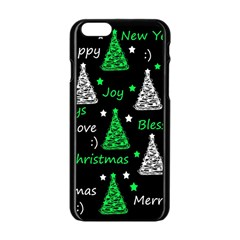 New Year Pattern   Green Apple Iphone 6/6s Black Enamel Case by Valentinaart