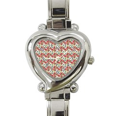 Gorgeous Red Flower Pattern  Heart Italian Charm Watch by Brittlevirginclothing