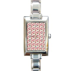 Gorgeous Pink Flower Pattern Rectangle Italian Charm Watch by Brittlevirginclothing