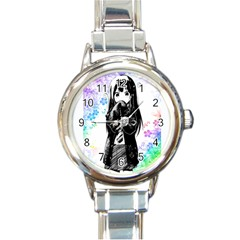 Shy Anime Girl Round Italian Charm Watch by Brittlevirginclothing