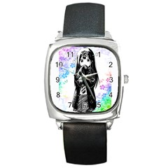 Shy Anime Girl Square Metal Watch by Brittlevirginclothing