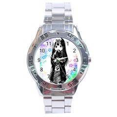 Shy Anime Girl Stainless Steel Analogue Watch