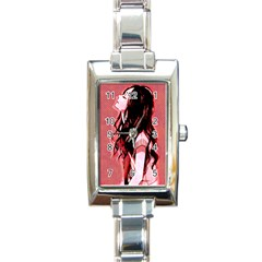 Day Dreaming Anime Girl Rectangle Italian Charm Watch by Brittlevirginclothing