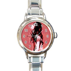 Day Dreaming Anime Girl Round Italian Charm Watch by Brittlevirginclothing