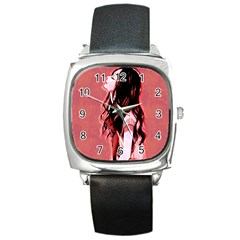 Day Dreaming Anime Girl Square Metal Watch by Brittlevirginclothing