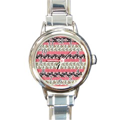 Cute Flower Pattern Round Italian Charm Watch by Brittlevirginclothing