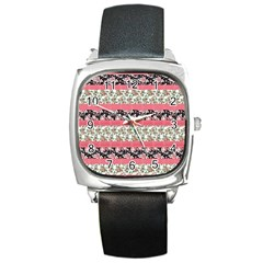 Cute Flower Pattern Square Metal Watch by Brittlevirginclothing