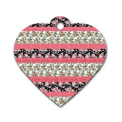 Cute Flower Pattern Dog Tag Heart (two Sides) by Brittlevirginclothing