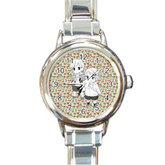 Cute Kids  Round Italian Charm Watch by Brittlevirginclothing