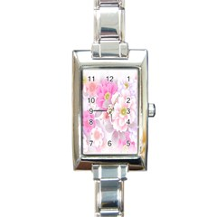Cute Pink Flower Pattern  Rectangle Italian Charm Watch by Brittlevirginclothing