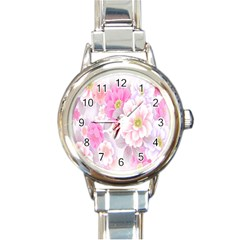 Cute Pink Flower Pattern  Round Italian Charm Watch by Brittlevirginclothing
