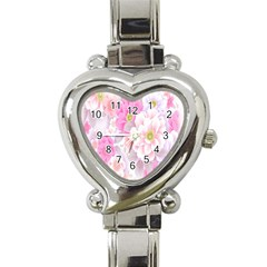 Cute Pink Flower Pattern  Heart Italian Charm Watch by Brittlevirginclothing