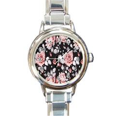 Vintage Flower  Round Italian Charm Watch by Brittlevirginclothing