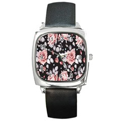 Vintage Flower  Square Metal Watch by Brittlevirginclothing