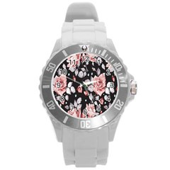 Vintage Flower  Round Plastic Sport Watch (l) by Brittlevirginclothing