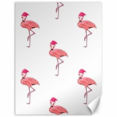 Flamingos Pink Santa Claus Tropical Coastal Christmas Canvas 12  X 16   by CrypticFragmentsColors