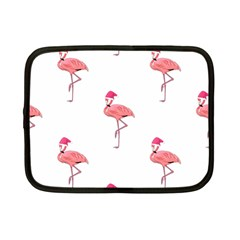 Flamingos Pink Santa Claus Tropical Coastal Christmas Netbook Case (small)  by CrypticFragmentsColors