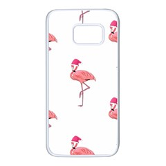 Flamingos Pink Santa Claus Tropical Coastal Christmas Samsung Galaxy S7 White Seamless Case
