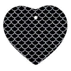 Scales1 Black Marble & Gray Marble Heart Ornament (two Sides) by trendistuff