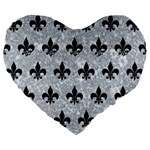 ROYAL1 BLACK MARBLE & GRAY MARBLE Large 19  Premium Flano Heart Shape Cushion Front