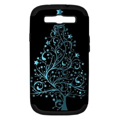 Elegant Blue Christmas Tree Black Background Samsung Galaxy S Iii Hardshell Case (pc+silicone) by yoursparklingshop