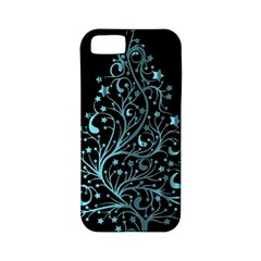 Elegant Blue Christmas Tree Black Background Apple Iphone 5 Classic Hardshell Case (pc+silicone)