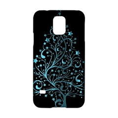 Elegant Blue Christmas Tree Black Background Samsung Galaxy S5 Hardshell Case  by yoursparklingshop