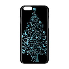 Elegant Blue Christmas Tree Black Background Apple Iphone 6/6s Black Enamel Case