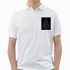 Elegant Blue Christmas Tree Black Background Golf Shirts
