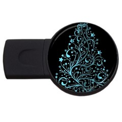 Elegant Blue Christmas Tree Black Background Usb Flash Drive Round (2 Gb)  by yoursparklingshop
