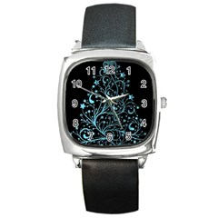 Elegant Blue Christmas Tree Black Background Square Metal Watch by yoursparklingshop