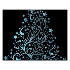 Elegant Blue Christmas Tree Black Background Rectangular Jigsaw Puzzl