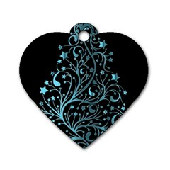 Elegant Blue Christmas Tree Black Background Dog Tag Heart (one Side) by yoursparklingshop